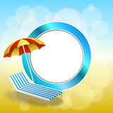 Abstract background summer beach vacation deck chair red umbrella blue yellow circle frame illustration Stock Photography