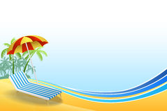 Abstract background summer beach vacation deck chair red umbrella green palm blue yellow frame illustration. Vector Royalty Free Stock Images