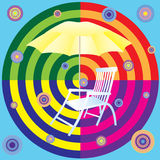 Abstract background with sun beds and umbrellas. Deckchair and yellow umbrella on a background of colored circles stock illustration