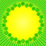 Abstract background with sun and clever (vector). Abstract green-yellow background with sunburst Stock Photos