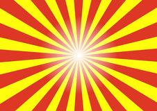 Abstract background of sun ray pattern. Abstract background of sun ray with yellow, red, and white light in the center Stock Images