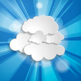 Abstract background with sun rays and clouds Royalty Free Stock Image