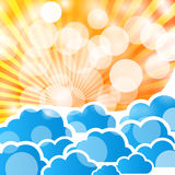Abstract background with sun rays. Abstract holiday background with sun rays and clouds vector illustration