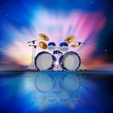 Abstract background with sunrise and drum kit. Abstract music blue background with drum kit and sunrise Royalty Free Stock Photography