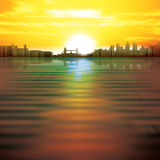 Abstract background with sunrise and silhouette of Royalty Free Stock Image