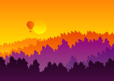 Abstract background sunset silhouette mountain scenery Stock Photo