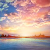 Abstract background with sunset in Tallinn Royalty Free Stock Photo