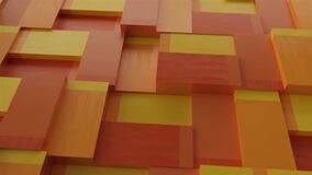 Abstract background with surface cubes. Seamless loop. Rotating orange and yellow blocks background, seamless loop.