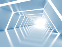 Abstract background with symmetric white shining tunnel interior. 3d illustration Royalty Free Illustration