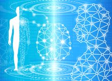 Abstract background technology concept in blue light. Brain and human body heal ,technology modern medical science in future and global international medical Royalty Free Stock Image