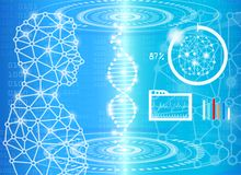 Abstract background technology concept in blue light. Brain and human body heal ,technology modern medical science in future and global international medical Stock Photography