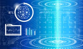 Abstract background technology concept in blue light. Brain and human body heal ,technology modern medical science in future and global international medical Royalty Free Stock Photo