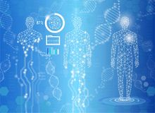 Abstract background technology concept in blue light,human body. Heal,technology modern medical science in future and global international medical with tests Stock Image