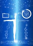 Abstract background technology concept in blue light. Human body heal,technology modern medical science in future and global international medical with tests Stock Photo