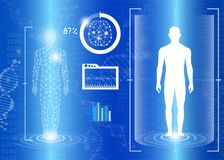 Abstract background technology concept in blue light. Human body heal,technology modern medical science in future and global international medical with tests Royalty Free Stock Images