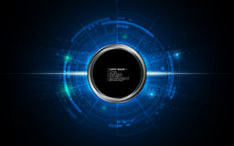 Abstract background technology concept circular dynamic design with steel circle button Stock Photography