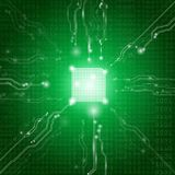 Abstract background technology concept in green light. Electronic and processor chip with connection network and transfer data other,science in future and Vector Illustration