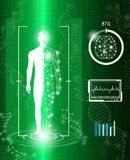 Abstract background technology concept in green light. Human body heal,technology modern medical science in future and global international medical with tests Royalty Free Stock Photos