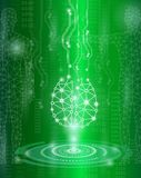 Abstract background technology concept in green light. Brain and human body heal ,technology modern medical science in future and global international medical Royalty Free Stock Photo