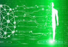 Abstract background technology concept in green light. Brain and human body heal ,technology modern medical science in future and global international medical Royalty Free Stock Images