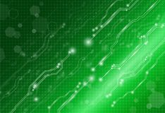 Abstract background technology concept in green light. Electronic and processor chip with connection network and transfer data other,science in future and royalty free illustration