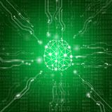 Abstract background technology concept in green light. Electronic and processor chip with connection network and transfer data other,science in future and Stock Illustration