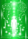 Abstract background technology concept in green light. Human body heal,technology modern medical science in future and global international medical with tests Royalty Free Stock Images