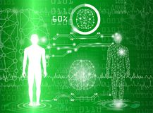 Abstract background technology concept in green light. Human body heal,technology modern medical science in future and global international medical with tests Royalty Free Stock Photo