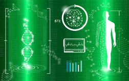 Abstract background technology concept in green light. Human body heal,technology modern medical science in future and global international medical with tests Stock Image