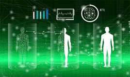 Abstract background technology concept in green light. Human body heal,technology modern medical science in future and global international medical with tests Stock Photos