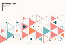 Abstract background template with colorful triangles and arrows for business and communication in flat style. Geometric pattern vector illustration