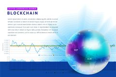 Abstract background on the theme of blockchain and crypto currency. Abstract background on the theme of blockade and crypto currency in blue and purple colors Stock Images