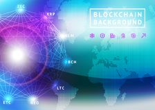 Abstract background on the theme of blockchain and crypto currency. Abstract background on the theme of blockade and crypto currency in blue and purple colors Stock Photos