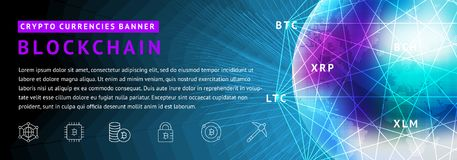 Abstract background on the theme of blockchain and crypto currency. Abstract background on the theme of blockade and crypto currency in blue and purple colors Stock Image