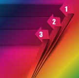 Abstract background with three arrows and three steps. Abstract colorful background with three arrows and three steps with place for text Royalty Free Stock Photography