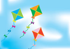 Abstract background with three colour kites. Over blue royalty free illustration