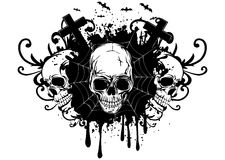 Abstract background and three skulls Stock Images