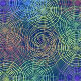 Abstract background tile with concentric cobwebby elements in soft rainbow colors Royalty Free Stock Image