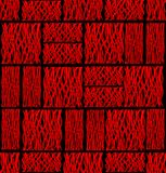 Abstract background tile with red square line patterns on black Stock Image