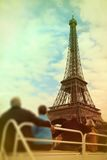 Abstract background .Tourists looking at the Eiffel Tower from t Royalty Free Stock Photo