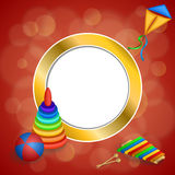 Abstract background toys pyramid ball kite blue green red yellow gold circle frame illustration Stock Photos