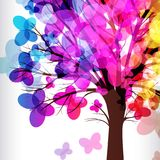 Abstract background, tree with colorful butterflies. Abstract background, tree with branches made of colorful butterflies royalty free illustration
