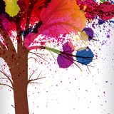 Abstract background, tree with branches made of watercolor drops.  stock illustration