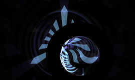 Abstract background with triangle and sphere. Bluish abstract fractal with pyramid and orb on black background Stock Photo
