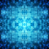 Abstract background of triangles. Bright shades of blue. Kaleidoscope of shapes and colors Royalty Free Stock Photos