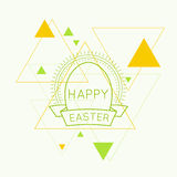 Abstract background with triangles. Abstract background with hipster triangles. Deco vintage emblem with Easter eggs sun rays and ribbon. For cover book royalty free illustration