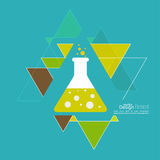 Abstract background with triangles. Abstract background with hipster triangles and flasks. Triangle pattern background. chemical flask with reagent. Research royalty free illustration