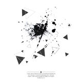 Abstract background with triangles. Abstract background with hipster triangles and ink splatter, black drop . Triangle pattern background. For cover book royalty free illustration
