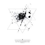 Abstract background with triangles. Abstract background with hipster triangles and ink splatter, black drop . Triangle pattern background. For cover book Royalty Free Stock Image