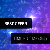 Abstract background with triangles and text best offer limited time only. Royalty Free Stock Images